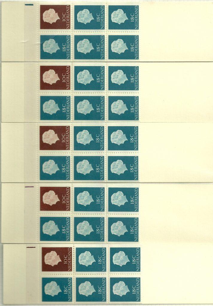 Pb3yW met 5 aansluitende boekjes en de daarbij horende registerstrepen.