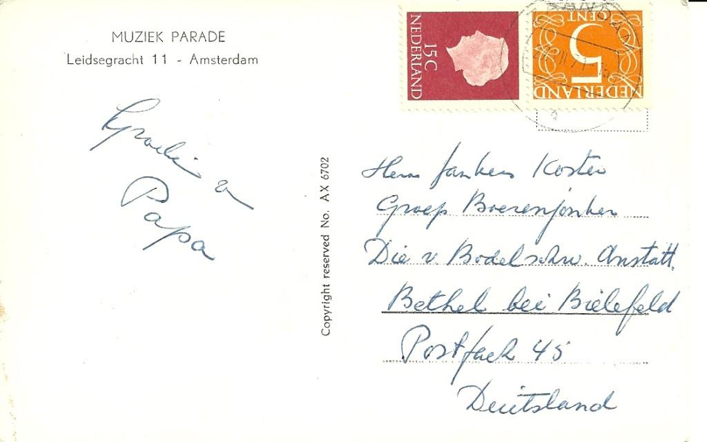 Briefkaart verzonden van Zaandam naar Bethel (Dld) op 27 juli 1971. Papier D, drukrichting A, dus afkomstig uit Pb10a.