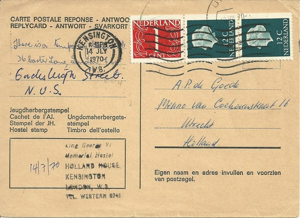 Antwoordkaart verzonden op 10 juli 1970 van Utrecht naar Londen (Engeland), deze werd beantwoord op 14-juli 1971