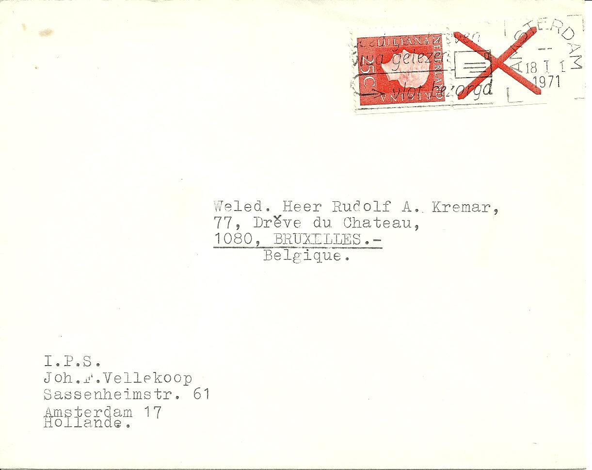 Brief verzonden op 18 januari 1971 van Amsterdam naar Brussel )B'. Zegel uit Pb9eF.