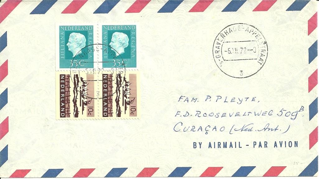 Brief verzonden op 5 december 1972 van s'Gravenhage naar Curacoa . Luchtposttarief 10-20 gram is 90ct.