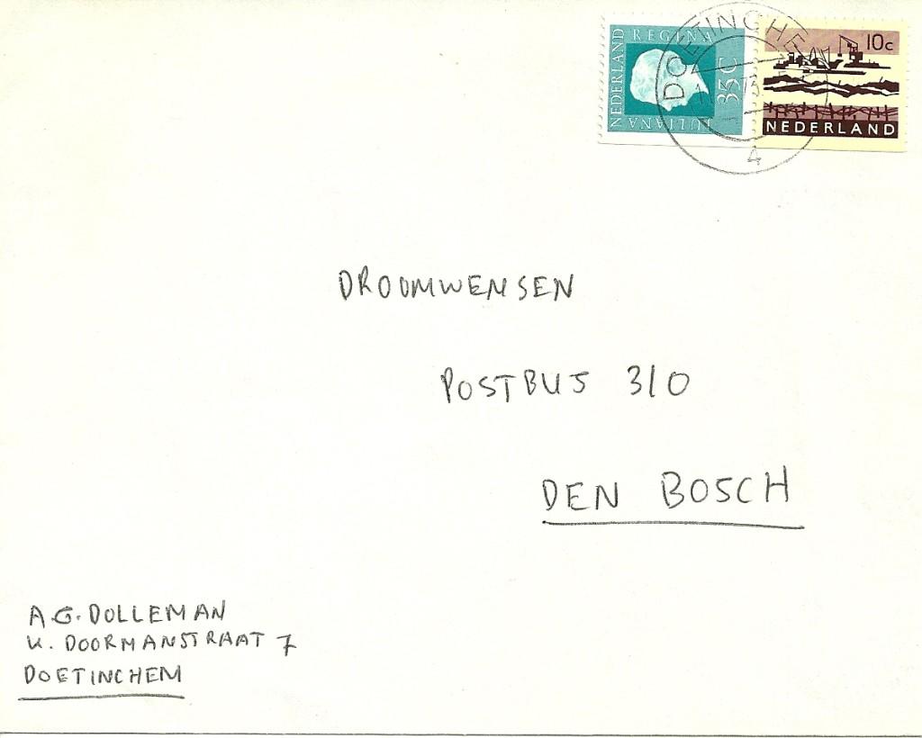 Pb12a brief verzonden van Doetinchem naar 's Hertogenbosch op 11 oktober 1973. Geldig tarief van 1-9-1973 tot 1-9-1974 40ct, dus 5ct teveel gefrankeerd.