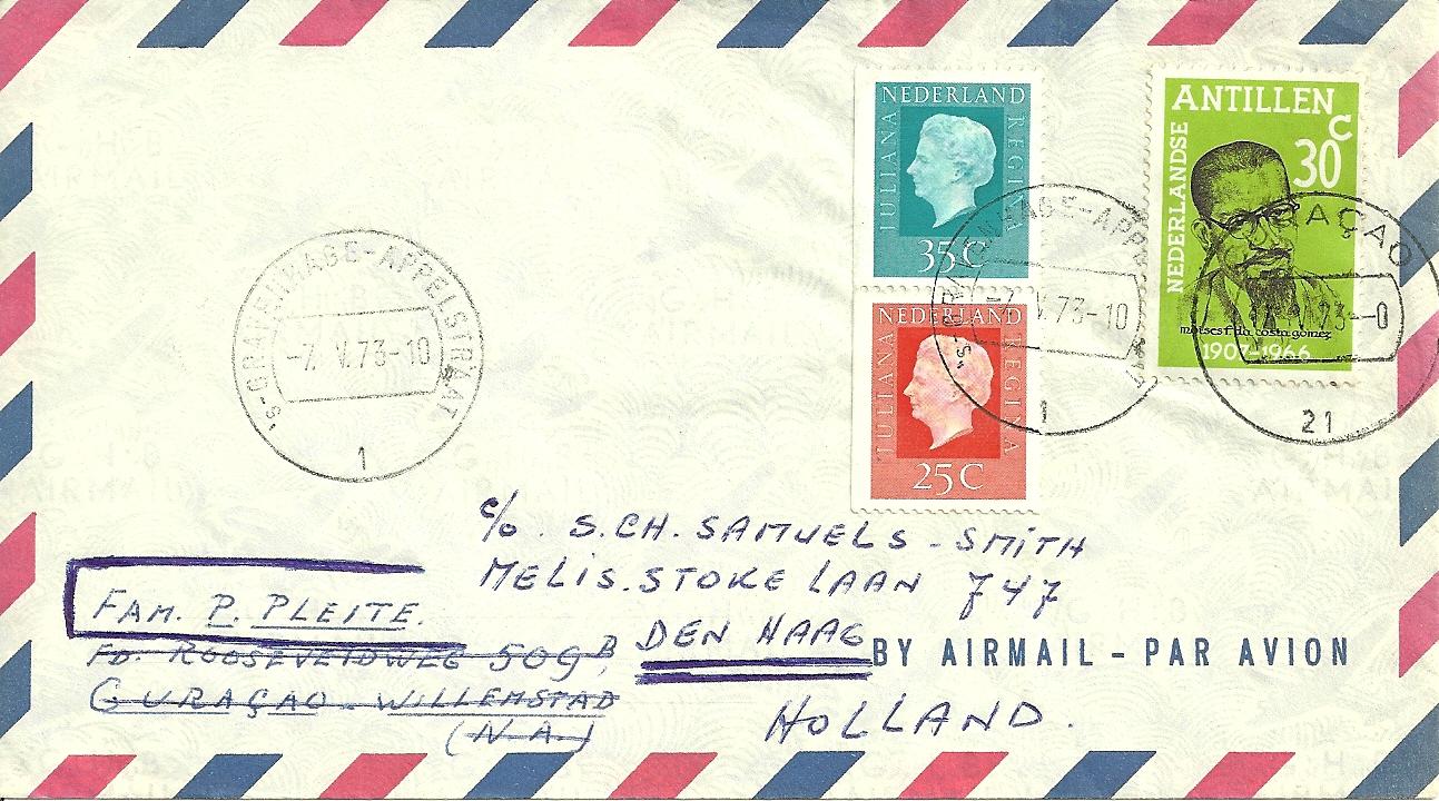 Brief verzonden op 7 mei 1973 van 's Gravenhage naar Curacao en retour.