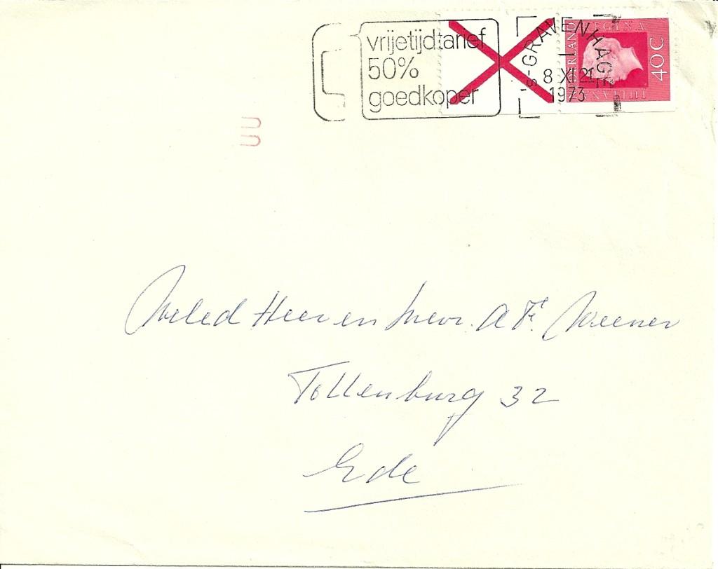 Verzonden op 8 november 1973 van 's Gravenhage naar Ede.