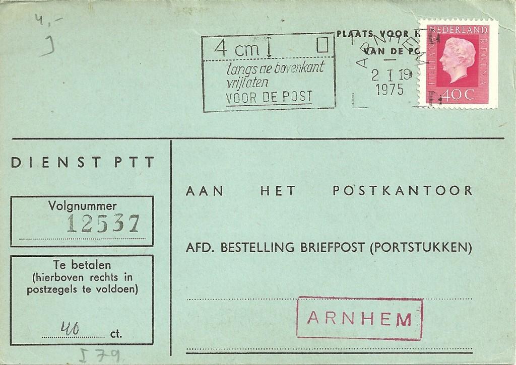 Bericht van strafport voldaan op 2 januari 1975 te Arnhem.