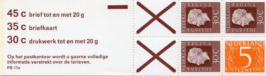 Pb17a2 met plaatfout o3,verticaal bruin streepje links in zegelbeeld.