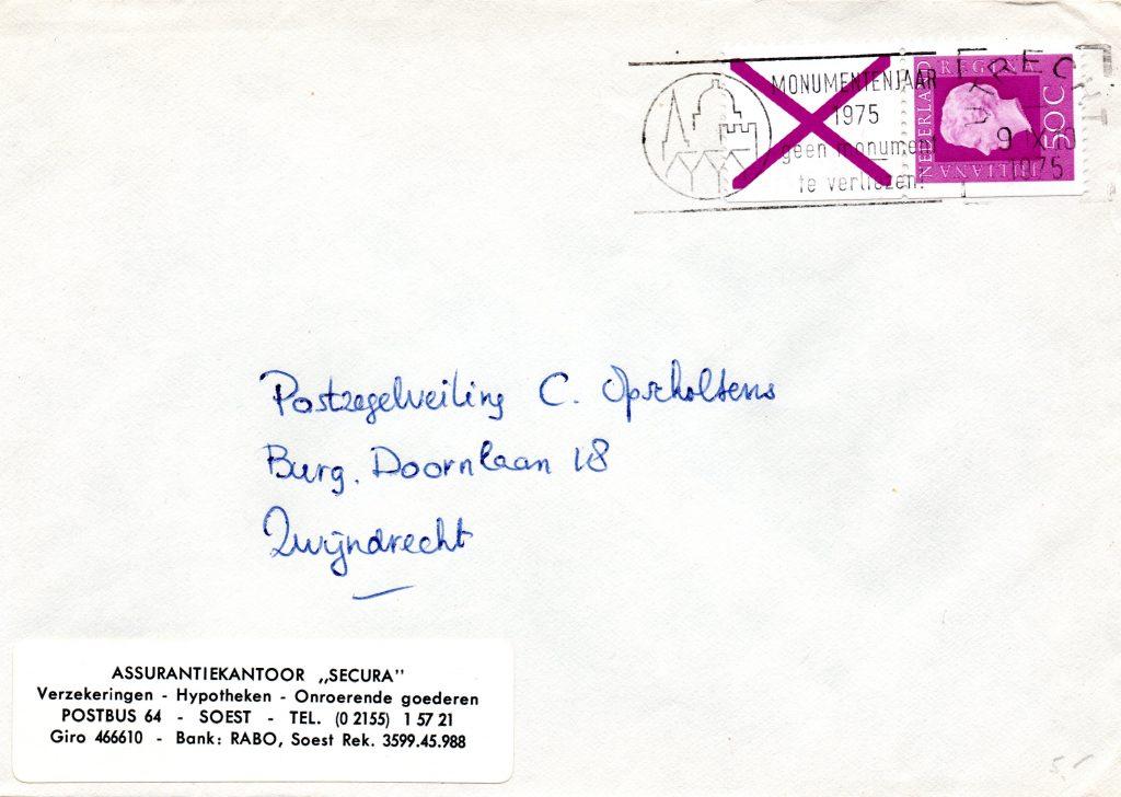 Pb18 brief verzonden op 9 november 1975 van Utrecht naar Zwijndrecht.Door de dikte van Xs, 1.8mm., en de datum kunnen we aannemen dat deze combinatie uit Pb18b komt. Tarief is correct voor gewichtsgroep 1 Interlokaal.