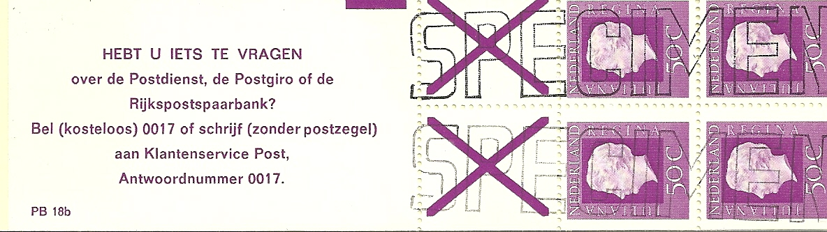 Pb18b vals specimen stempel.